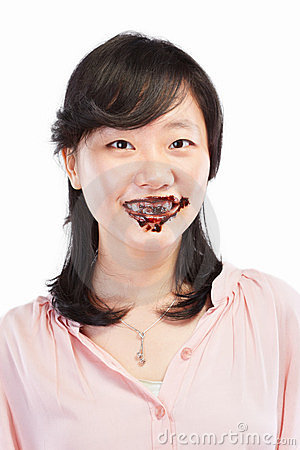 Asian lady and chocolate