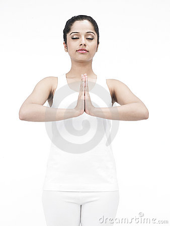 Asian lady doing yoga
