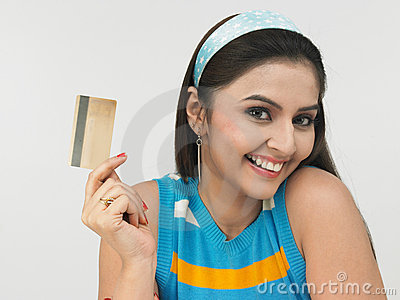 Asian lady with her credit card