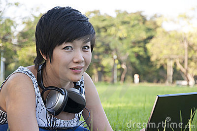Asian lady using computer