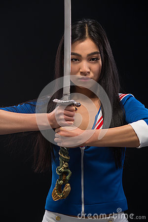 Free Asian Lady With Sword In Studio Royalty Free Stock Photos - 82850738
