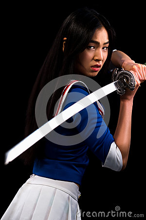 Free Asian Lady With Sword In Studio Royalty Free Stock Images - 82851149