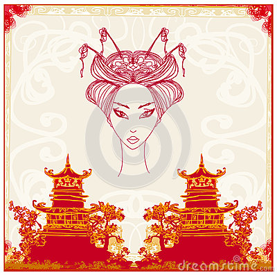 Asian Landscape and beautiful geisha