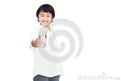 Asian Little boy holding glass of water