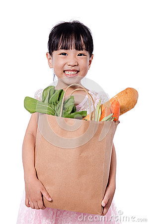 Free Asian Little Chinese Girl Carrying Shopping Bag With Groceries Stock Photography - 90343952