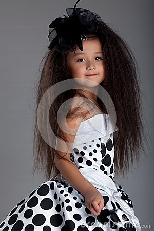 Asian little girl in beautiful dress