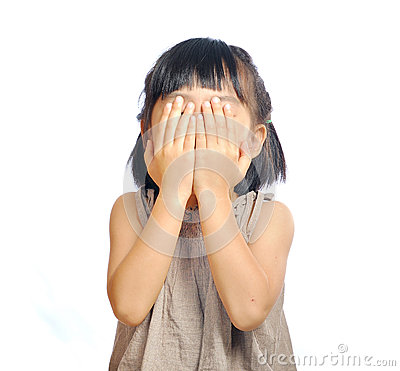 Free Asian Little Girl Cover Her Face With Her Hand Isolated In White Royalty Free Stock Photo - 49785305