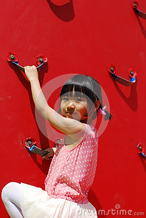 Asian little girl playing