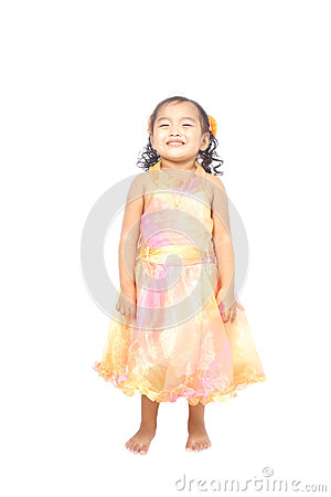 Asian little girl posing in a very cute smile
