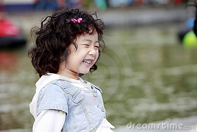 Asian little girl's laughing