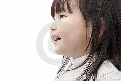 Asian little girl watch and smiling