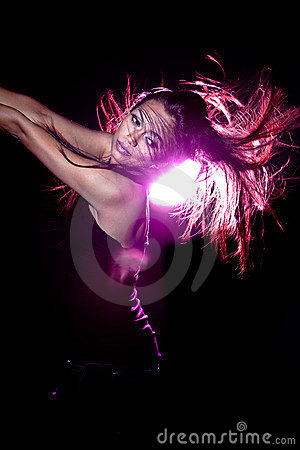 Asian malay woman with disco lighting