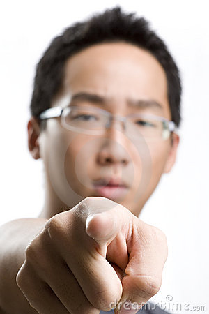 Asian male pointing at you