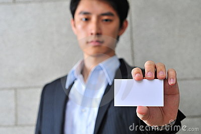 Asian Man with Blank Namecard 16