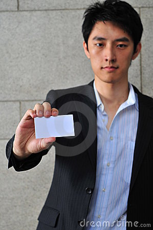 Asian Man with Blank Namecard 4