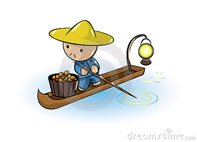 Asian Man In Boat