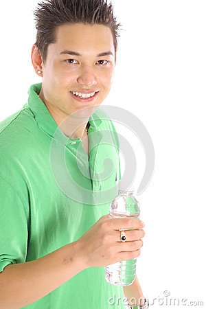 asian man with bottle water