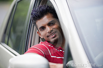 Asian Man In Car