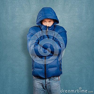 Asian Man in Down Padded Coat