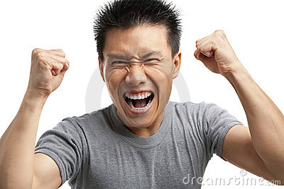 Asian Man Expressing His Excitement Stock Photo - Image ...