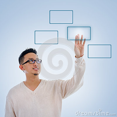 Free Asian Man Finger Pressing On Touch Screen Monitor Button Royalty Free Stock Photos - 34560958