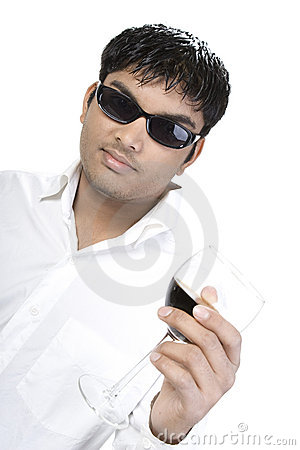 Asian man with glass of wine