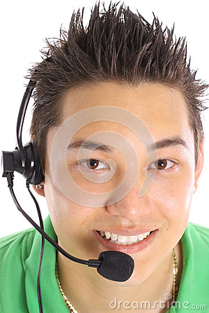 Asian man on headset