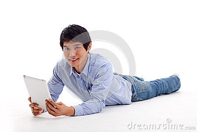 Asian man holding tablet computer