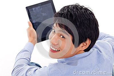 Asian Man Holding Tablet Computer Royalty Free Stock Photography - Image: 29025147