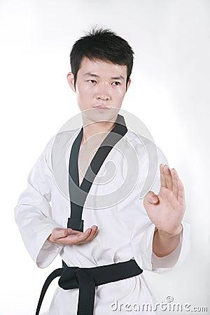 Asian man playing  taekwondo