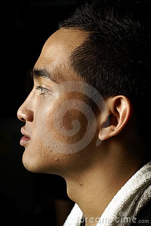 Asian man side profile