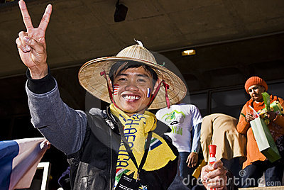 Asian Man - Soccer Supporter - FIFA WC Editorial Stock Photo