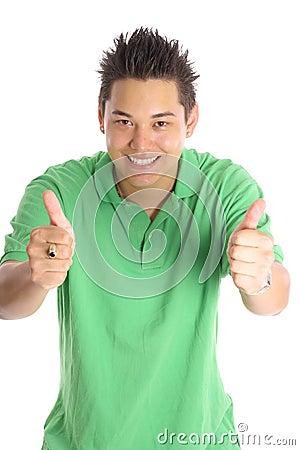 Asian man thumbs up vertical