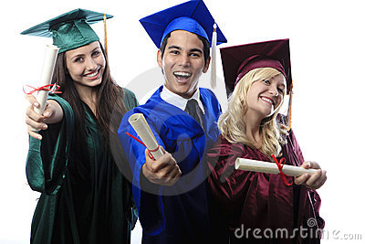 Asian man and two women graduates