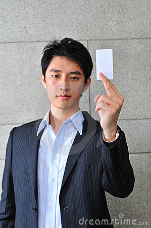 Free Asian Man With Blank Namecard 21 Royalty Free Stock Photo - 6265985