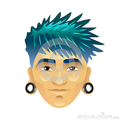 Free Asian Man With Blue Hair And Tunnels In Ears Isolated Vector Royalty Free Stock Photos - 87525018