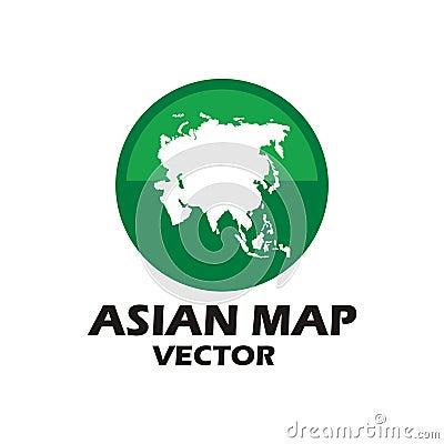 Asian map vector logo Vector Illustration
