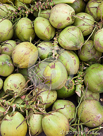 Asian market foods coconuts