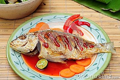Asian menu of deep fried fish