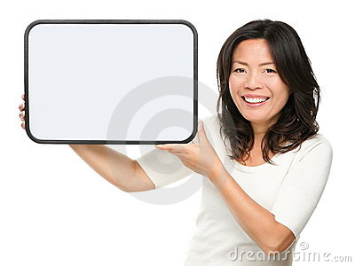 Asian middle aged woman showing sign