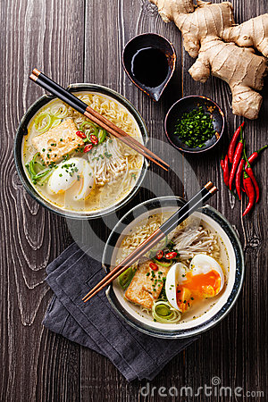 Free Asian Miso Ramen Noodles With Egg, Tofu And Enoki Royalty Free Stock Photography - 55772277