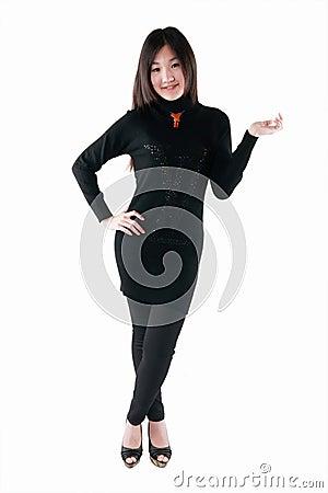 Asian model in black dress