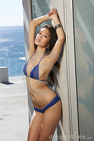 Asian Model Blue Bikini