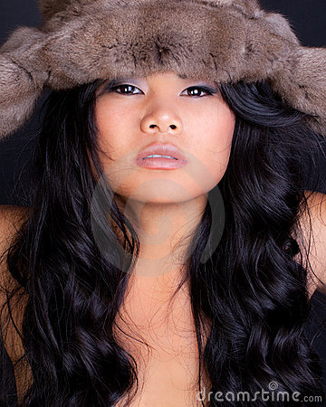 Asian Model in Furry Hat