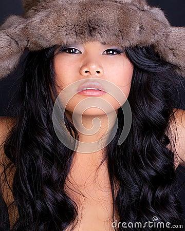 Asian Model in Furry Hat