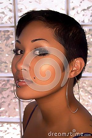 Asian model headshot with lip