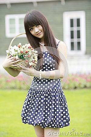 Asian model posing outdoor