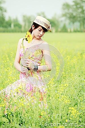 Asian model in rape field