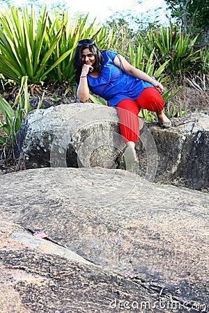 Asian Model on Rocky Terrain