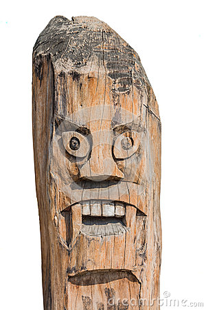 Asian Monster pole. Old art create of wood